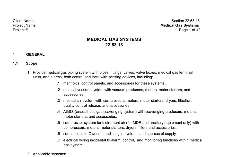 Air Liquide Healthcare Master Specification sheet